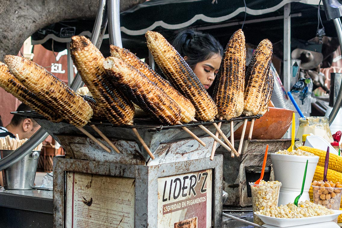 Corn vendor in Tlaquepaque, Nov 2019